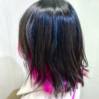 ガーリー インナーカラー ミディアム ショートボブ ヘアスタイルや髪型の写真・画像