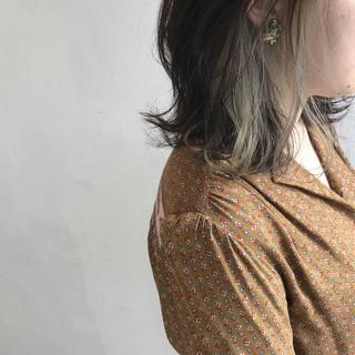 ボブ ハイライト ガーリー インナーカラー ヘアスタイルや髪型の写真・画像