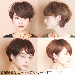 パーマ ショートヘア ふんわりショート 大人カジュアル ヘアスタイルや髪型の写真・画像