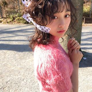 ガーリー 結婚式 ミディアム バレンタイン ヘアスタイルや髪型の写真・画像