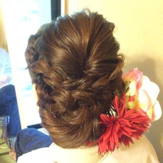 ブライダル セミロング まとめ髪 ヘアアレンジ ヘアスタイルや髪型の写真・画像 ヘアスタイルや髪型の写真・画像