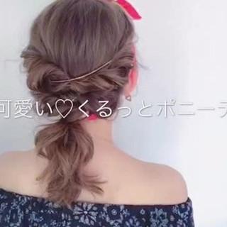 ポニーテール フェミニン セミロング デート ヘアスタイルや髪型の写真・画像