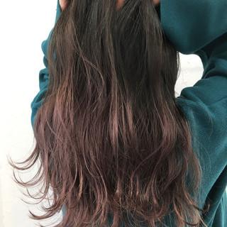 外国人風 渋谷系 ピンク セミロング ヘアスタイルや髪型の写真・画像