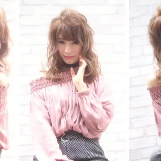 フェミニン ニュアンス 大人女子 ミディアム ヘアスタイルや髪型の写真・画像