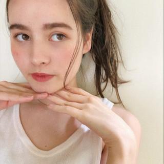 ヘアアレンジ セミロング 大人かわいい ガーリー ヘアスタイルや髪型の写真・画像