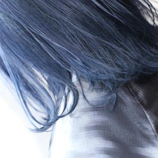 ボブ デザイン ストリート ブルー ヘアスタイルや髪型の写真・画像
