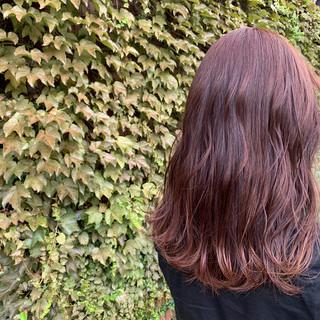 オフィス インナーカラー ピンクブラウン セミロング ヘアスタイルや髪型の写真・画像
