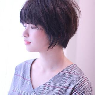 ショート 女子力 暗髪 秋 ヘアスタイルや髪型の写真・画像