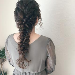 ロング ヘアアレンジ 編みおろしヘア 編みおろし ヘアスタイルや髪型の写真・画像