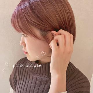 ボブ ショートボブ ピンクラベンダー ガーリー ヘアスタイルや髪型の写真・画像