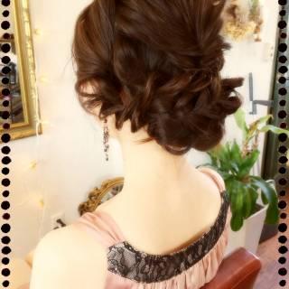 セミロング 大人かわいい ヘアアレンジ ゆるふわ ヘアスタイルや髪型の写真・画像