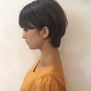 オフィス エフォートレス アウトドア ショート ヘアスタイルや髪型の写真・画像