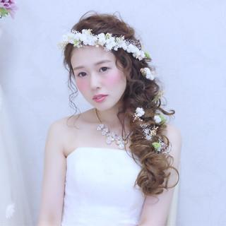 花嫁 ハーフアップ ロング ヘアアレンジ ヘアスタイルや髪型の写真・画像
