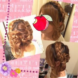 ヘアアレンジ 編み込み アップスタイル 結婚式 ヘアスタイルや髪型の写真・画像