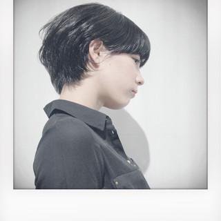 モード 黒髪 ショート 暗髪 ヘアスタイルや髪型の写真・画像