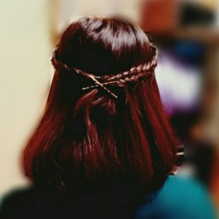 ハーフアップ 簡単ヘアアレンジ ヘアアレンジ ガーリー ヘアスタイルや髪型の写真・画像