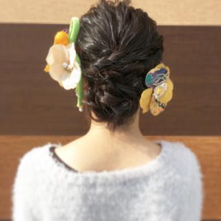 ガーリー アウトドア 結婚式 セミロング ヘアスタイルや髪型の写真・画像