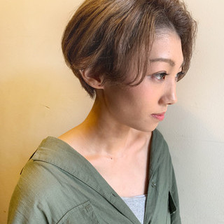 ナチュラル 3Dハイライト ショート ショートボブ ヘアスタイルや髪型の写真・画像