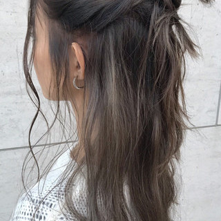 外国人風 ハイライト ニュアンス ロング ヘアスタイルや髪型の写真・画像