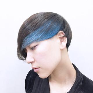 ブルー モード 暗髪 マッシュ ヘアスタイルや髪型の写真・画像