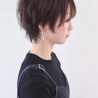 ニュアンスウルフ 小顔ショート 黒髪 ストリート ヘアスタイルや髪型の写真・画像