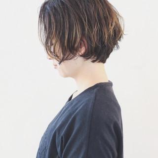 バレイヤージュ 外国人風カラー ショート グラデーションカラー ヘアスタイルや髪型の写真・画像