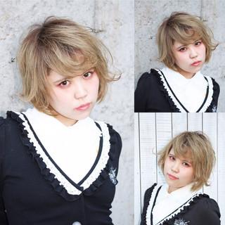 ガーリー ショート ハイライト グラデーションカラー ヘアスタイルや髪型の写真・画像