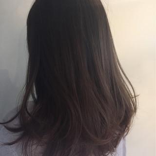 暗髪 ゆるふわ アッシュ セミロング ヘアスタイルや髪型の写真・画像