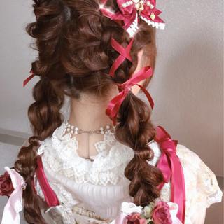 フェミニン ロング ツインテール ヘアアレンジ ヘアスタイルや髪型の写真・画像 ヘアスタイルや髪型の写真・画像