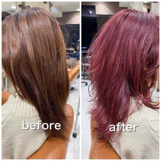フェミニン ミディアム ラベンダーピンク ブリーチ必須 ヘアスタイルや髪型の写真・画像