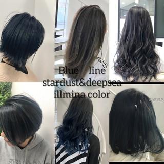 セミロング イルミナカラー バレイヤージュ ブルージュ ヘアスタイルや髪型の写真・画像