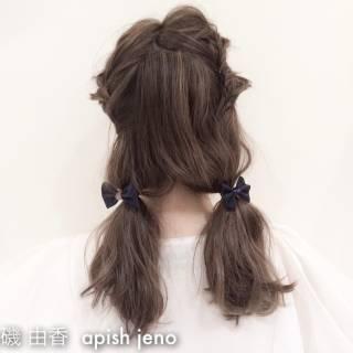 ストリート セミロング 外国人風 ヘアアレンジ ヘアスタイルや髪型の写真・画像