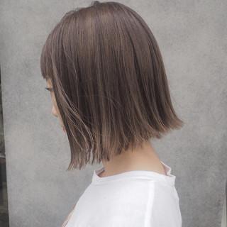ナチュラル 切りっぱなし 透明感 ボブ ヘアスタイルや髪型の写真・画像