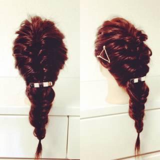 簡単ヘアアレンジ フィッシュボーン くるりんぱ ショート ヘアスタイルや髪型の写真・画像