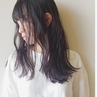 イルミナカラー ゆるふわ 艶髪 セミロング ヘアスタイルや髪型の写真・画像