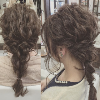 二次会 波ウェーブ ヘアアレンジ 結婚式 ヘアスタイルや髪型の写真・画像