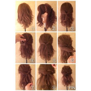 ロング ショート くるりんぱ 簡単ヘアアレンジ ヘアスタイルや髪型の写真・画像