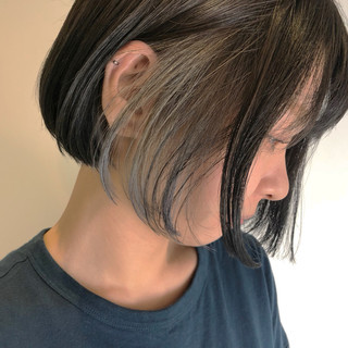 デート ハイライト 色気 インナーカラー ヘアスタイルや髪型の写真・画像