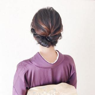 ミディアム 着物 お呼ばれ ヘアアレンジ ヘアスタイルや髪型の写真・画像