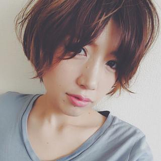 似合わせ 小顔 ショート 簡単ヘアアレンジ ヘアスタイルや髪型の写真・画像