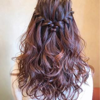 フェミニン ウォーターフォール ロング 簡単ヘアアレンジ ヘアスタイルや髪型の写真・画像