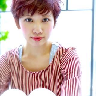 ショート 秋 丸顔 ナチュラル ヘアスタイルや髪型の写真・画像