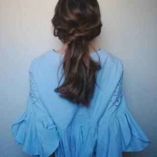 簡単ヘアアレンジ ニュアンス セミロング ヘアアレンジ ヘアスタイルや髪型の写真・画像