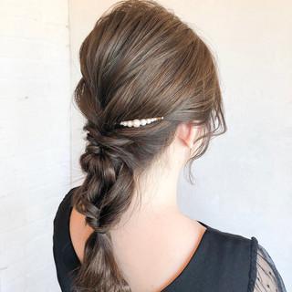 簡単ヘアアレンジ 編みおろし ロング ヘアアレンジ ヘアスタイルや髪型の写真・画像