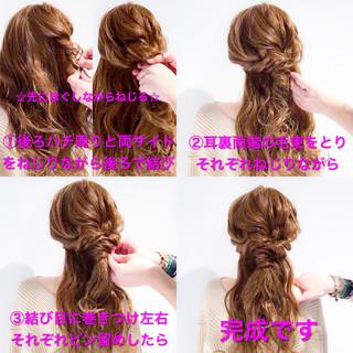 オフィス フェミニン 簡単ヘアアレンジ ロング ヘアスタイルや髪型の写真・画像