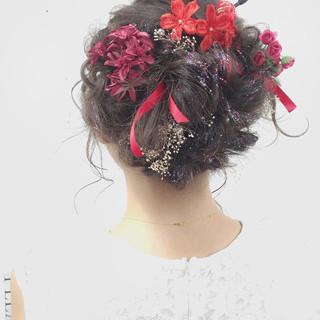セミロング ショート フェミニン ヘアアレンジ ヘアスタイルや髪型の写真・画像
