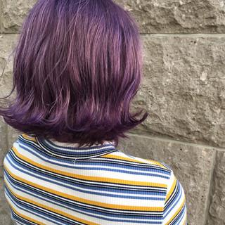 アッシュバイオレット ボブ ピンクバイオレット バイオレット ヘアスタイルや髪型の写真・画像