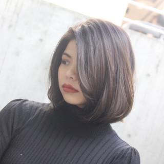 グラデーション 艶カラー ボブ イルミナカラー ヘアスタイルや髪型の写真・画像