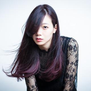 ロング 暗髪 パープル グラデーションカラー ヘアスタイルや髪型の写真・画像