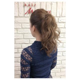 ポニーテール セミロング ヌーディーベージュ ショート ヘアスタイルや髪型の写真・画像 ヘアスタイルや髪型の写真・画像